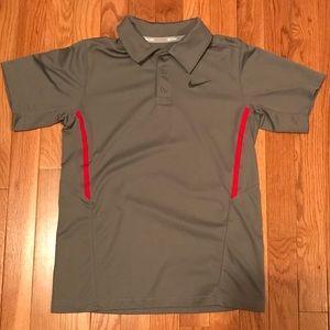Boys Size Medium Gray/Red Nike Tennis Polo Shirt